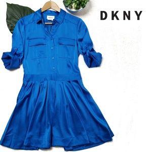 NWOT DKNY Long Sleeve Satin Shirt Dress Pleated